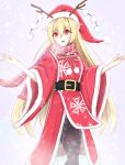 1girl :d belt black_legwear blonde_hair blush christmas dress eyebrows_visible_through_hair fake_antlers fur-trimmed_dress fur-trimmed_hat hair_between_eyes hat highres junko_(touhou) long_hair looking_at_viewer musteflott419 open_mouth outstretched_arms pantyhose red_dress red_eyes red_hat santa_hat scarf smile snow solo touhou very_long_hair