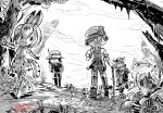 1boy 3girls commentary english_commentary gapangman greyscale hat_feather helmet highres kaban_(kemono_friends) kemono_friends made_in_abyss monochrome multiple_girls pantyhose pith_helmet regu_(made_in_abyss) riko_(made_in_abyss) serval_(kemono_friends) signature tagme thigh-highs