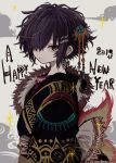 1girl azsn10 black_hair clouds earrings english_text eyebrows_visible_through_hair from_side fur_trim grey_background grey_eyes hair_ornament hair_over_one_eye happy_new_year highres jewelry looking_at_viewer new_year original short_hair solo upper_body