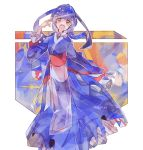 1girl :o blue_dress blue_hair creatures_(company) dangowamu dress full_body game_freak gen_3_pokemon hair_ornament hand_up kyogre long_hair long_sleeves looking_at_viewer nintendo personification pokemon red_eyes simple_background solo standing twitter_username white_background