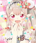 1girl :d afterimage bangs black_hairband blush brown_hair commentary_request elf elu_(nijisanji) eyebrows_visible_through_hair fingernails flower hair_flower hair_ornament hairband hand_to_own_mouth hands_up happy_birthday long_hair looking_at_viewer nijisanji open_mouth plaid plaid_background pointy_ears red_eyes red_flower shirt short_sleeves side_ponytail smile solo transparent_wings upper_body very_long_hair virtual_youtuber white_shirt yamase yellow_wings