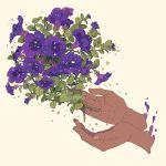 artist_name dark_skin floating floating_object flower hands leaf mochipanko original plant purple_flower sepia_background simple_background sparkle star