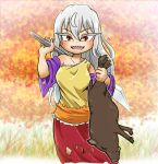1girl animal autumn_leaves boar chamaji collarbone commentary_request cowboy_shot detached_sleeves diamond_(shape) eyebrows_visible_through_hair frills grass hair_between_eyes hatchet highres holding holding_animal holding_weapon long_hair looking_at_viewer open_mouth oriental_hatchet outdoors over_shoulder red_eyes sakata_nemuno sharp_teeth single_strap skirt solo tail teeth touhou tusks weapon weapon_over_shoulder white_hair x_x