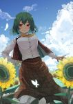 1girl ascot bangs breasts bug butterfly collared_shirt commentary_request cumulonimbus_cloud field flower flower_field frilled_skirt frills from_below futatsuki_eru garden_of_the_sun green_hair hair_between_eyes highres insect kazami_yuuka large_breasts leaf long_skirt long_sleeves open_clothes open_vest plaid plaid_skirt plaid_vest red_eyes red_skirt red_vest shirt short_hair single_bang skirt skirt_set sky smile solo sunflower sweat teeth touhou vest wavy_hair white_shirt yellow_neckwear