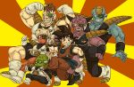 /\/\/\ 6+boys :o armor arms_at_sides black_eyes black_hair boots burter captain_ginyu clenched_hands clenched_teeth dougi dragon_ball dragonball_z full_body grin guldo happy height_difference horns jeice looking_at_viewer multiple_boys nitako recoome red_background scouter short_hair smile son_gokuu spiky_hair striped striped_background teeth two-tone_background vertical-striped_background vertical_stripes wristband yellow_background