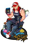 1boy arcade_cabinet baseball_cap blonde_hair blue_eyes bomber_jacket denim falcoon fatal_fury fingerless_gloves gloves hat highres jacket jeans long_hair looking_at_viewer muscle one_eye_closed pants pins ponytail smile snk solo tank_top terry_bogard the_king_of_fighters vest