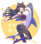 1girl animal_ears arm_ribbon bare_shoulders belt belt_pouch black_hair blake_belladonna boots cat_ears fang fangs highres iesupa long_hair midriff pouch ribbon rwby shark shirt sleeveless sleeveless_shirt solo stuffed_animal stuffed_toy thigh-highs thigh_boots toy yellow_eyes