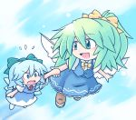 >:o 216 2girls :d :o ascot blue_dress blue_eyes blue_hair blush bow chibi cirno clouds commentary_request daiyousei dress eyebrows_visible_through_hair fairy_wings flying flying_sweatdrops full_body green_eyes green_hair hair_between_eyes hair_bow hand_holding loafers looking_at_another looking_back multiple_girls open_mouth outdoors shoes side_ponytail skirt skirt_set sky smile touhou vest wings