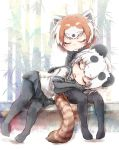 2girls animal_ears black_hair closed_eyes commentary_request elbow_gloves eyebrows_visible_through_hair fur_collar giant_panda_(kemono_friends) gloves kemono_friends kolshica lap_pillow lesser_panda_(kemono_friends) multicolored_hair multiple_girls no_shoes panda_ears panda_tail pantyhose pleated_skirt red_panda_ears red_panda_tail redhead sailor_collar short_hair short_sleeves skirt sleeping white_hair