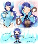 1girl blush breasts chibi closed_eyes collarbone dual_wielding fire gloves holding kagutsuchi_(xenoblade) long_hair looking_at_viewer madanai_(morisumeshi) nintendo open_mouth pauldrons purple_hair short_hair simple_background smile solo swimsuit weapon xenoblade_(series) xenoblade_2