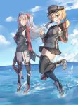 2girls :d :q antenna_hair azur_lane bangs black_dress black_gloves black_hat black_legwear black_shirt black_skirt blonde_hair blue_sky blush breasts buttons clouds cloudy_sky commentary crossover dress floating_hair garter_straps gloves green_eyes grey_footwear hair_ornament hands_up hat highres horizon kantai_collection leg_up long_hair long_sleeves looking_at_viewer low_twintails medium_breasts military_hat miniskirt multicolored_hair multiple_girls namesake ocean open_mouth outdoors peaked_cap pleated_skirt prinz_eugen_(azur_lane) prinz_eugen_(kantai_collection) redhead scarlet_dango shirt shoes sideboob sidelocks silver_hair skirt sky sleeves_past_wrists smile standing standing_on_one_leg streaked_hair thigh-highs tongue tongue_out twintails two_side_up water yellow_eyes