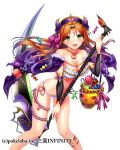 1girl :d bikini black_sleeves bow breasts brown_hair choker cleavage collarbone detached_sleeves eyebrows_visible_through_hair floating_hair frilled_bikini_top frills fuji_minako gradient_hair green_eyes hair_between_eyes hair_bow hairband halloween halloween_costume holding holding_scythe leaning_forward long_hair long_sleeves looking_at_viewer medium_breasts multicolored_hair open_mouth purple_cloak purple_hair purple_hairband purple_ribbon ribbon sangoku_infinity scythe shiny shiny_hair side-tie_bikini simple_background smile solo standing strapless strapless_bikini striped striped_bow striped_sleeves swimsuit two-tone_hair very_long_hair white_background white_bikini