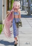 1girl bag bare_shoulders black_choker blue_eyes blurry blurry_background bracelet braid cellphone choker city commentary day flip-flops full_body handbag highres holding holding_cellphone holding_phone ia_(vocaloid) jewelry long_hair looking_to_the_side midriff open_mouth outdoors pants parking_meter phone pink_hair realistic sandals shoulder_bag sidewalk signature solo strapless sweatpants takepon1123 tubetop twin_braids very_long_hair vocaloid walking