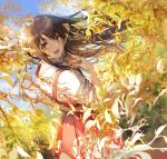 1girl 888myrrh888 :d akagi_(kantai_collection) bangs blue_sky branch brown_hair commentary_request dress hakama_skirt highres kantai_collection leaf long_hair looking_at_viewer looking_back open_mouth red_dress shirt sky sleeves_rolled_up smile white_shirt yellow_eyes