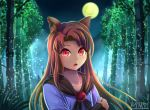 1girl animal_ear_fluff animal_ears arm_holding arm_up artist_name bamboo bamboo_forest bangs blue_dress brooch brown_hair chestnut_mouth collarbone commentary_request dress eyebrows_visible_through_hair fangs fireflies forest full_moon highres imaizumi_kagerou jewelry long_hair looking_at_viewer lower_teeth moon nature night open_mouth outdoors red_eyes shawl solo swept_bangs torinosuke touhou upper_body wolf_ears