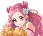1girl chocokin cure_yell double_bun earrings floating_hair flower hair_flower hair_ornament hair_ribbon heart heart_hair_ornament hugtto!_precure jewelry long_hair looking_at_viewer nono_hana pink_eyes pink_hair pom_poms portrait precure red_ribbon ribbon see-through shiny shiny_hair shoulder_cutout solo sparkle very_long_hair white_background white_flower