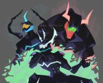 3boys artist_name character_name chin_rest claws grey_background helmet horned_helmet mad_burnish male_focus multiple_boys promare simple_background sitting valerie_garnace