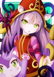 1girl :o animal_ear_fluff animal_ears breasts cat cat_paw commentary dark_skin dot_nose dress english_commentary eyebrows_visible_through_hair fairy green_eyes hat highres holding holding_staff league_of_legends long_hair long_sleeves lulu_(league_of_legends) no_mouth open_mouth pix purple_hair purple_skin red_dress red_hat small_breasts staff striped sylphine upper_body wings witch_hat yellow_eyes yordle
