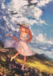 1girl absurdres bare_shoulders barefoot clouds copyright_request crystal dragon dress flower freckles hair_flower hair_ornament highres kanekiru long_hair mountain open_mouth orange_hair rock skull_helmet sky sundress very_long_hair violet_eyes