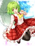 1girl :d aka_tawashi ascot bangs black_legwear blue_sky blush breasts brown_footwear clouds commentary_request day eyebrows_visible_through_hair flower full_body green_hair green_umbrella hair_between_eyes hand_up highres holding holding_umbrella jumping kazami_yuuka loafers long_sleeves looking_at_viewer medium_breasts open_mouth outdoors pantyhose petals petticoat pink_flower plaid plaid_skirt plaid_vest red_eyes red_skirt red_vest shirt shoes short_hair skirt skirt_set sky smile solo thighs touhou umbrella vest white_shirt yellow_neckwear