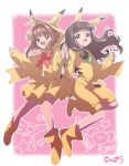 2girls 90s animal_ears arched_back bangs bare_legs bow bowtie brown_hair card_captor_sakura commentary_request cosplay creatures_(company) crossover daidouji_tomoyo fake_animal_ears game_freak gen_1_pokemon green_eyes green_neckwear hairband hood hood_up jumpsuit kinomoto_sakura long_hair long_sleeves looking_at_viewer multiple_girls nanpou_(nanpou0021) nintendo open_mouth pikachu pikachu_(cosplay) pikachu_ears pikachu_girl pikachu_hood pikachu_tail pink_background pokemon pokemon_ears red_neckwear sexual_dimorphism short_hair skirt smile striped tail unaligned_ears wide_sleeves yellow_footwear yellow_hairband yellow_jumpsuit