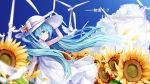 1girl absurdres anniversary aqua_eyes aqua_hair bangs bird blue_sky blurry_foreground bow character_name clouds commentary dove dress eyebrows_visible_through_hair field flower flower_bracelet flower_field from_side hand_on_headwear hat hat_bow hatsune_miku highres large_hat long_hair nishina_hima petals sky smile sparkling_eyes sundress sunflower twintails very_long_hair vocaloid white_dress white_hat wind wind_turbine windmill