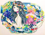050505si 1girl abstract bangs black_hair blue_flower blush bracelet closed_eyes colorful commentary_request crystal expressionless fish flower from_side heart jellyfish jewelry long_hair looking_at_viewer no_nose nude one_eye_closed original pink_flower solo surreal traditional_media