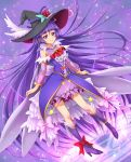 1girl ahoge alexandrite_style ankle_bow ankle_ribbon black_hat boots bow chocokin cure_magical detached_sleeves eyebrows_visible_through_hair floating_hair flower full_body hat hat_flower hat_ribbon izayoi_liko knee_boots long_hair looking_at_viewer mahou_girls_precure! miniskirt pink_eyes pink_skirt precure purple_footwear purple_hair purple_ribbon red_bow red_flower ribbon rose see-through skirt smile solo very_long_hair witch_hat