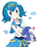 1girl blue_eyes blue_hair carrying closed_mouth collarbone creatures_(company) game_freak gen_7_pokemon hairband ixy looking_at_viewer nintendo pokemon pokemon_(creature) pokemon_(game) pokemon_sm popplio short_hair smile solo suiren_(pokemon) swimsuit swimsuit_under_clothes