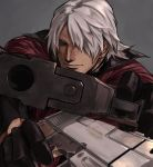 1boy black_gloves blue_eyes closed_mouth dante_(devil_may_cry) devil_may_cry dual_wielding gloves gradient gradient_background grey_background grey_hair gun hair_over_one_eye handgun holding holding_gun holding_weapon male_focus nama29_m pistol pointing_weapon short_hair silver_hair solo upper_body weapon