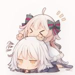 >_< 2girls :3 ahoge bangs beni_shake black_jacket bow brown_eyes chibi closed_eyes closed_mouth commentary_request dress eyebrows_visible_through_hair facing_viewer fate/grand_order fate_(series) fur-trimmed_dress fur_trim green_bow green_ribbon grey_background grey_legwear hair_between_eyes hair_bow jacket jeanne_d'arc_(alter)_(fate) jeanne_d'arc_(fate)_(all) jeanne_d'arc_alter_santa_lily long_hair long_sleeves multiple_girls no_shoes notebook ribbon shadow socks squiggle striped striped_bow striped_ribbon very_long_hair white_dress white_hair wicked_dragon_witch_ver._shinjuku_1999