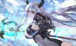1girl armor bodysuit breasts claws clouds covered_navel electricity epic7 forehead_jewel gauntlets highres horns large_breasts long_hair looking_at_viewer luna_(epic7) mountain outstretched_hand polearm red_eyes sidelocks silver_hair sky solo spear vardan weapon
