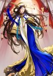 1girl artist_name blue_dress blue_ribbon brown_hair closed_eyes copyright_name curtains dino_(trexsilence) dress facing_viewer hair_rings hat hat_ornament highres indoors lantern long_hair red_curtains ribbon seven_knights solo standing tassel very_long_hair white_hat wide_sleeves