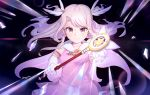 1girl black_background breasts brown_eyes cape dress earrings fate/grand_order fate/kaleid_liner_prisma_illya fate_(series) gloves hair_ornament highres holding holding_wand illyasviel_von_einzbern jewelry long_hair looking_at_viewer open_mouth pink_dress short_twintails simple_background small_breasts solo somray standing twintails upper_body wand white_cape white_gloves white_hair