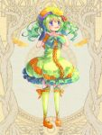 1girl :o ashgray blue_eyes blue_gloves blush bow dress flower full_body gloves green_bow green_dress green_hair green_legwear hair_flower hair_ornament hands_up hat kneehighs orange_footwear orange_hat red_flower shoes short_sleeves solo standing twintails