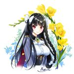 1girl arms_at_sides artist_name black_hair bow breasts brooch brown butyou_(mika1412) epic7 flower hair_bow jewelry karin_fantaria long_hair looking_at_viewer medium_breasts red_eyes smile solo upper_body white_background white_bow yellow_flower