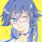 1girl bangs blue-framed_eyewear blue_choker blue_eyes blue_hair choker closed_mouth eyelashes fu_hua glasses hair_between_eyes hair_ornament head_tilt honkai_(series) honkai_impact_3 light_smile long_hair looking_at_viewer one_eye_closed portrait shirt simple_background solo star white_shirt whiteshirt yellow_background