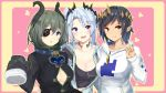 >:) 3girls :d :o aqua_eyes arm_around_waist bangs black_hair black_shirt blue_hair blue_jacket blush breasts cleavage collar collarbone dark_skin drawstring eyebrows_visible_through_hair eyepatch fur-trimmed_sleeves fur_trim grey_hair heart high_collar honey_strap hood hood_down hoodie horns irohasu jacket large_breasts long_sleeves looking_at_viewer mole mole_under_eye multiple_girls no_bra one_eye_covered open_clothes open_jacket open_mouth parted_bangs partially_unbuttoned pink_background pointy_ears sekishiro_mico shimamura_charlotte shirt short_hair side_ponytail sleeves_past_fingers sleeves_past_wrists smile sougetsu_eli sparkle two-tone_background upper_body v violet_eyes yellow_eyes