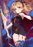 1girl blonde_hair breasts cage cape crown earrings ereshkigal_(fate/grand_order) fate/grand_order fate_(series) hair_ribbon highres holding holding_weapon jewelry langya_beike light_smile long_hair looking_at_viewer ribbon smile solo thigh-highs two_side_up weapon yellow_eyes