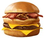 bacon beef cheese commentary_request food hamburger no_humans onion original sauce simple_background still_life taka_(takahirokun) white_background