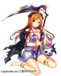 1girl anklet armlet barefoot black_cape bow bracelet breasts brown_hair cape cleavage floating_hair frilled_shorts frills fuji_minako green_eyes grey_shorts halloween halloween_costume holding holding_scythe jewelry long_hair looking_at_viewer medium_breasts purple_bow sangoku_infinity scythe shiny shiny_hair short_shorts shorts simple_background sitting sleeves solo very_long_hair wariza white_background