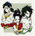 1girl 2boys arms_at_sides bang belt black_eyes black_hair bracelet broly broly_(dragon_ball_super) commentary diadem dragon_ball dragon_ball_super dragon_ball_super_broly dragonball_z earrings expressionless finger_gun frown grey_background grey_eyes height_difference jewelry kale_(dragon_ball) long_hair looking_away multiple_boys muscle necklace nervous ponytail red_shirt scar shirt shirtless short_hair simple_background spiky_hair sweatdrop symbol_commentary upper_body yoruume