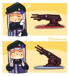 1girl beret cannon chibi closed_eyes drake_(rapper) drakeposting girls_frontline gloves happy hat hk416_(girls_frontline) lcron solo thumbs_up twitter_username