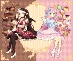 2girls 2others ambiguous_gender artist_name blue_eyes blue_hair bow brown_hair cake chocolate dav-19 deviantart_username dress english_text female food heterochromia macaron muffin multicolored_hair original original_character pink_dress pink_hair pink_shoes plushie red_dress red_eyes shoes socks strawberry text white_hair white_shoes