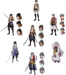 3boys absurdres ascot belt black_eyes black_hair boots crossover cuine design dual_wielding emblem fusion grey_hair hexafusion highres holding holding_sword holding_weapon inuyasha jacket katana levi_(shingeki_no_kyojin) long_hair male_focus multiple_boys naruto naruto_(series) naruto_shippuuden ninja pale_skin paradis_military_uniform pointy_ears red_sclera sesshoumaru shingeki_no_kyojin short_hair silver_hair smile spiky_hair survey_corps_(emblem) sword thigh_strap three-dimensional_maneuver_gear uchiha_sasuke very_long_hair very_short_hair weapon wire yellow_eyes