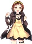 1girl :d absurdres bang_dream! bangs black_choker black_jacket brown_eyes brown_hair chain_necklace choker clenched_hands clothes_writing cowboy_shot dress earrings hairband hands_up hazawa_tsugumi highres hood hood_down hooded_jacket jacket jewelry komachi_narota long_sleeves looking_at_viewer open_mouth paint_stains pendant short_hair simple_background smile solo thigh_strap white_background yellow_dress