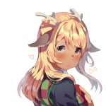 1girl antlers bangs blonde_hair blush deltarune hair_ornament hairclip hands_on_own_chest heart highres janineuy09 long_hair long_sleeves looking_at_viewer noelle_(deltarune) yellow_eyes