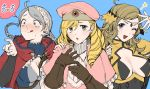 1boy 2girls ahoge between_breasts black_gloves blonde_hair blue_background blue_eyes blush braid breasts brown_gloves capelet cleavage_cutout crazy_eyes drill_hair echigoya_takeru elbow_gloves eponine_(fire_emblem_if) eyebrows_visible_through_hair fire_emblem fire_emblem_if foleo_(fire_emblem_if) fujoshi gloves grey_eyes hairband hand_on_another's_shoulder hat highres leather leather_gloves leotard licking_lips long_hair looking_at_viewer mars_symbol medium_breasts multiple_girls nintendo open_mouth ophelia_(fire_emblem_if) pink_hat pointing pose ribbed_sweater short_hair_with_long_locks silver_hair simple_background star strap_cleavage sweat sweater tongue tongue_out trap turtleneck twin_braids upper_body