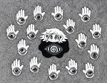 15ooo 1girl bangs black_eyes ears eyes greyscale hands highres large_ears looking_at_viewer monochrome no_mouth no_nose original short_hair spiral surreal swept_bangs veins white_hair