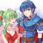 1boy 1girl awayuki_ramika belt blue_eyes blue_hair blush breasts cape chiki cleavage closed_eyes closed_mouth fire_emblem fire_emblem:_kakusei fire_emblem:_monshou_no_nazo fire_emblem_heroes gloves green_hair hair_ribbon hand_on_another's_head intelligent_systems long_hair looking_to_the_side mamkute marth medium_breasts nintendo open_mouth pointy_ears ponytail red_gloves ribbon short_hair short_sleeves smile super_smash_bros. super_smash_bros._ultimate tearing_up tiara